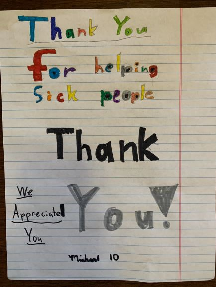 Thank you for helping sick people. We appreciate you.
