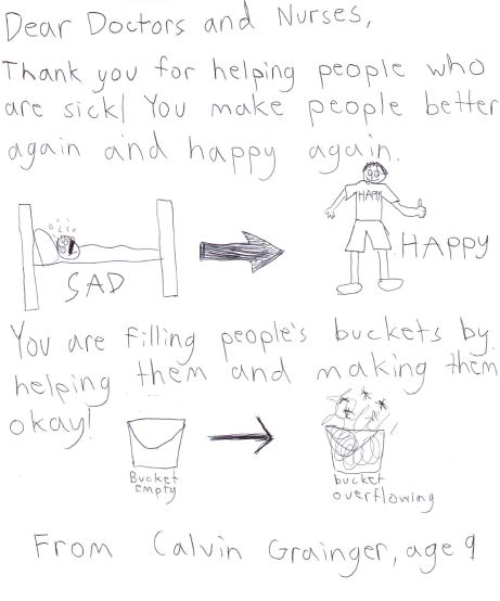 Thank you for helping people who are sick. You make people better again and happy again.